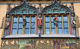 Ulm's town hall (Rathaus) - detail. Gothic detail of Ulm's town hall, easily recognised by its opulently painted, early renaissance facade Royalty Free Stock Image