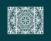 Ulotka laser ciie mandala Rżnięta papierowa karta z koronka wzorem Ślubni zaproszenia, pocztówki i wizytówka szablony, ilustracja wektor