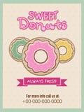 Ulotka lub menu karta dla słodkich donuts robimy zakupy Zdjęcie Royalty Free