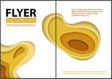 Ulotka papieru cięcia stylu projekt z Żółtymi warstwami ilustracji