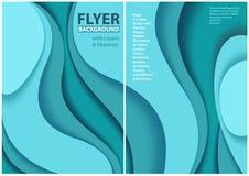 Ulotka papieru cięcia stylu projekt z Błękitnymi warstwami royalty ilustracja