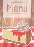Ulotka projekt, cukierniany menu z rysunkowym cheesecake Zdjęcie Stock