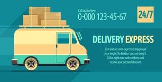 Ulotka projekt dla frachtowego dostawa transportu z minibusem Zdjęcia Royalty Free