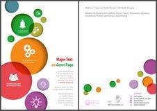 Ulotka szablon z Kolorowymi okręgami na Białym tle ilustracji