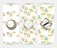 Ulotka z geometrycznymi wzorami Broszurka nowożytny styl Fotografia Stock