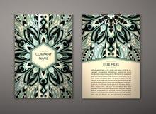 Ulotka z Kwiecistym mandala wzorem Obraz Royalty Free