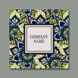 Ulotka z Kwiecistym mandala wzorem, ornamentami i Orientalny projekta układu szablon, Zdjęcia Stock