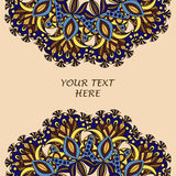 Ulotka z Kwiecistym mandala wzorem, ornamentami i Orientalny projekta układu szablon, Fotografia Stock