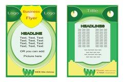 Ulotka Zielony Żółty projekt Plakatowy projekt Broszurka układ raport sztandaru szablon Zdjęcia Royalty Free
