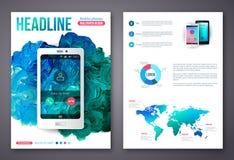 Ulotki lub broszurki Biznesowego projekta szablon Fotografia Stock