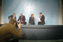 Ulrich Wilhelm, Roland Koch, Chancellor Angela Merkel, Klaus Wowereit Stock Images