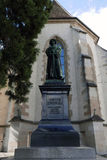 Ulrich Zwingli statue in Zurich. Statue of Ulrich Zwingli at the Water Church. The bronze statue by sculptor Heinrich Natter was unveiled in 1885 Stock Photo