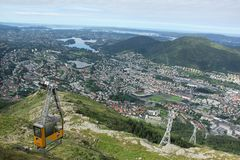Ulriken Cable Car. The Ulriken Cable Car with the city in the background in Bergen, Norway Stock Photo