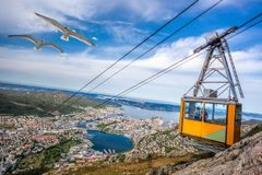 Free Ulriken Cable Railway In Bergen, Norway. Gorgeous Views From The Top Of The Hill. Stock Photos - 108801923
