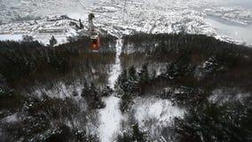 Ulriken. Descend by cable car from Mount ulriken in Bergen  Norway stock video