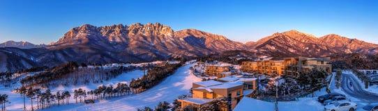 Ulsan bawi Rock in Seoraksan mountains in winter, Korea. Royalty Free Stock Images