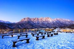 Ulsan bawi Rock in Seoraksan mountains in winter, Korea. Stock Photo