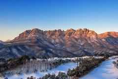 Ulsan bawi Rock in Seoraksan mountains in winter,Korea. Royalty Free Stock Photo