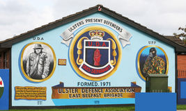 Ulster Defence Association Mural in Belfast Northern Ireland. The Ulster Defence Association is the largest loyalist paramilitary terrorist group in Northern Stock Photos