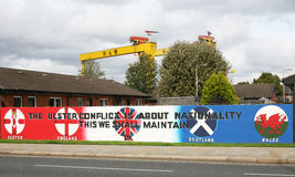 Ulster Defence Association Mural in Belfast Northern Ireland. The Ulster Defence Association is the largest loyalist paramilitary terrorist group in Northern Stock Photography