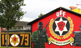 Ulster Freedom Fighters Mural  Belfast Northern Ireland. The Ulster Freedom Fighters is a paramilitary wing of the UDA Ulster Defence Association Stock Photo