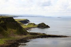 The Giant`s Causeway coast. Ulster Ireland, - July 20, 2016: The Giant`s Causeway coast on the north coast of County Antrim, Northern Ireland, UK royalty free stock images
