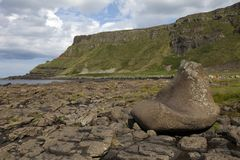 Giant`s stone shoe at the Giant`s Causeway stock photo
