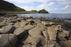 Giant`s Causeway. Ulster Ireland, - July 20, 2016: Polygonal basalt lava rock columns of the Giant`s Causeway on the north coast of County Antrim, Northern stock photos