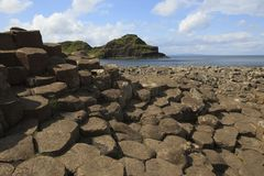 The Giant' s Causeway. Ulster Ireland, - July 20, 2016: Polygonal basalt lava rock columns of the Giant`s Causeway on the north coast of County Antrim stock images