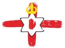 Ulster van Noord-Ierland de VectordieHand van de Bannervlag met Rond gemaakte Borstel wordt geschilderd Royalty-vrije Stock Afbeelding