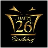 Happy Birthday twenty six years. Elegant design with number. vector illustration