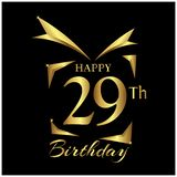 Happy Birthday twenty nine years. Elegant design with number. royalty free illustration