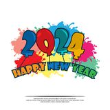 Happy 2024 New Year card with balloon. Please see more images related royalty free illustration