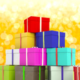 Ulticolored Giftboxes With Yellow Bokeh Background Stock Photos