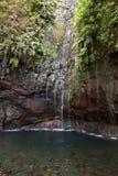Ultima cascata della traccia di escursione di Levada di venticinque fontane, Madera Fotografia Stock