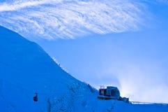 Ultima stazione alla cima del ghiacciaio di Kaprun in alpi austriache Immagini Stock
