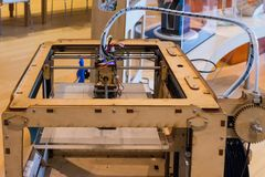 Ultimaker original 3D printers in the new Science Museum in Trento, Trentino South Tyrol, Italy. Close-u stock image
