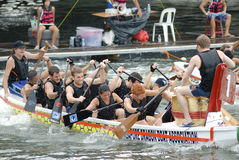Ultimate DragonTug in Singapore. Ultimate DragonTug Showdown, Singapore River on 10 May. The German team is fighting Royalty Free Stock Photos