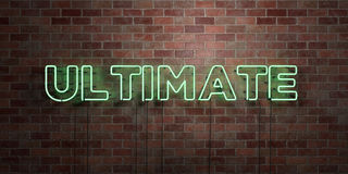 ULTIMATE - fluorescent Neon tube Sign on brickwork - Front view - 3D rendered royalty free stock picture Stock Images