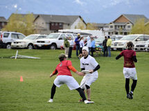 Ultimate Frisbee. Players battle in Bozeman Montana in the recent annual bozo tournament. The sport is currently one of the fastest growing in the nation Stock Image
