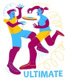 Ultimate frisbee players. Boy and girl catching flying disc. Spo. Rt competition. Flat funny style cute vector illustration with people in action. Design element vector illustration