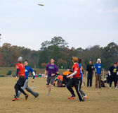 Ultimate Frisbee Tournament. Ultimate Frisbee players get into position at the Dave Baldwin Memorial Tournament, November 6, 2010, Victor Ashe Park, Knoxville Stock Photography