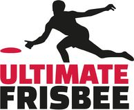 Ultimate frisbee word with player. Vector Stock Images