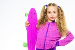 Ultimate gift list help pick perfect present for girl. Child hold penny board. Kid long hair carry penny board. Plastic. Skateboards for everyday skater. Penny stock photo