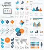 Ultimate infographic elements set with minimal eas Stock Image