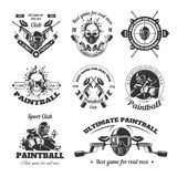 Ultimate paintball sport club for real men logotypes set. Ultimate paintball sport club for real men monochrome logotypes set isolated cartoon flat vector Royalty Free Stock Images