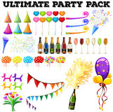 Ultimate party pack with many ornaments Royalty Free Stock Photography