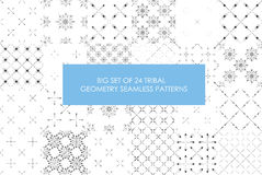 Ultimate profitable set of 24 tribal minimalism seamless patterns. Sacred geometry. High quality graphic Stock Image