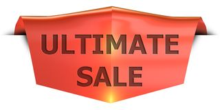Banner ultimate sale. Ultimate sale 3D rendered red banner , isolated on white background Royalty Free Stock Photo