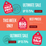 Ultimate sale discount banner set Stock Image